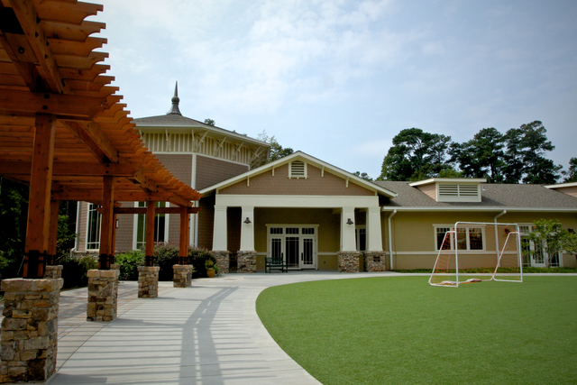 exterior photo of the School pergola and field